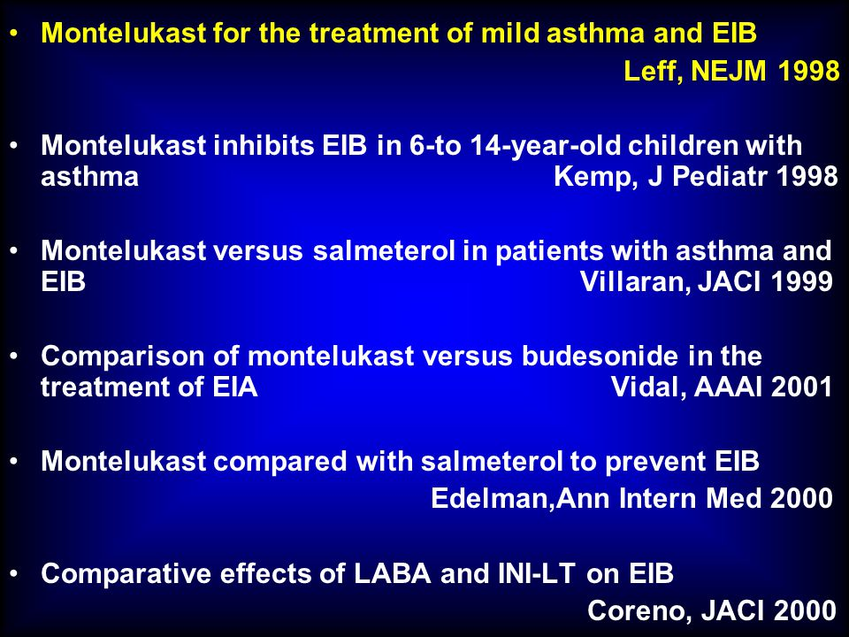 Montelukast for the treatment of mild asthma and EIB
