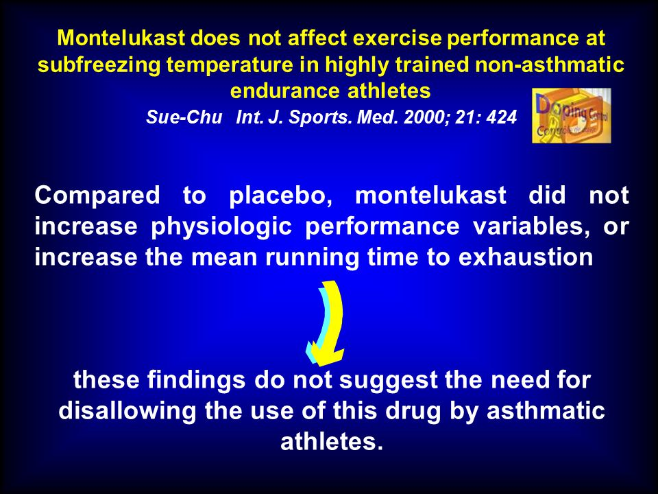Montelukast does not affect exercise performance at