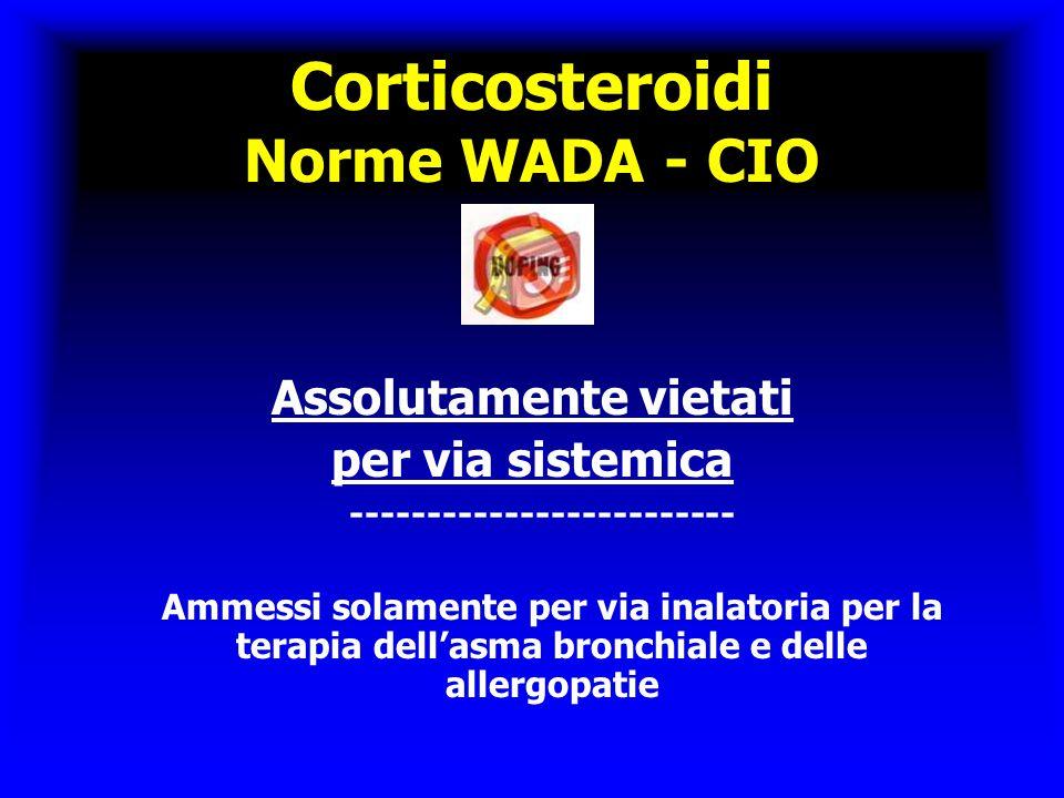 Corticosteroidi Norme WADA - CIO