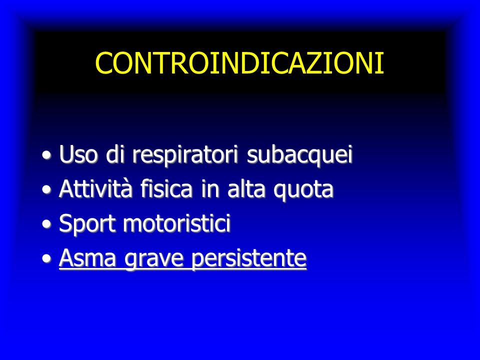 CONTROINDICAZIONI Uso di respiratori subacquei