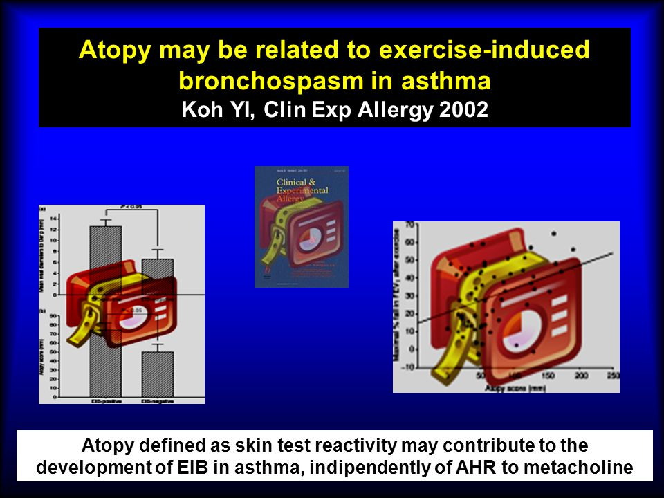 Atopy may be related to exercise-induced bronchospasm in asthma Koh YI, Clin Exp Allergy 2002