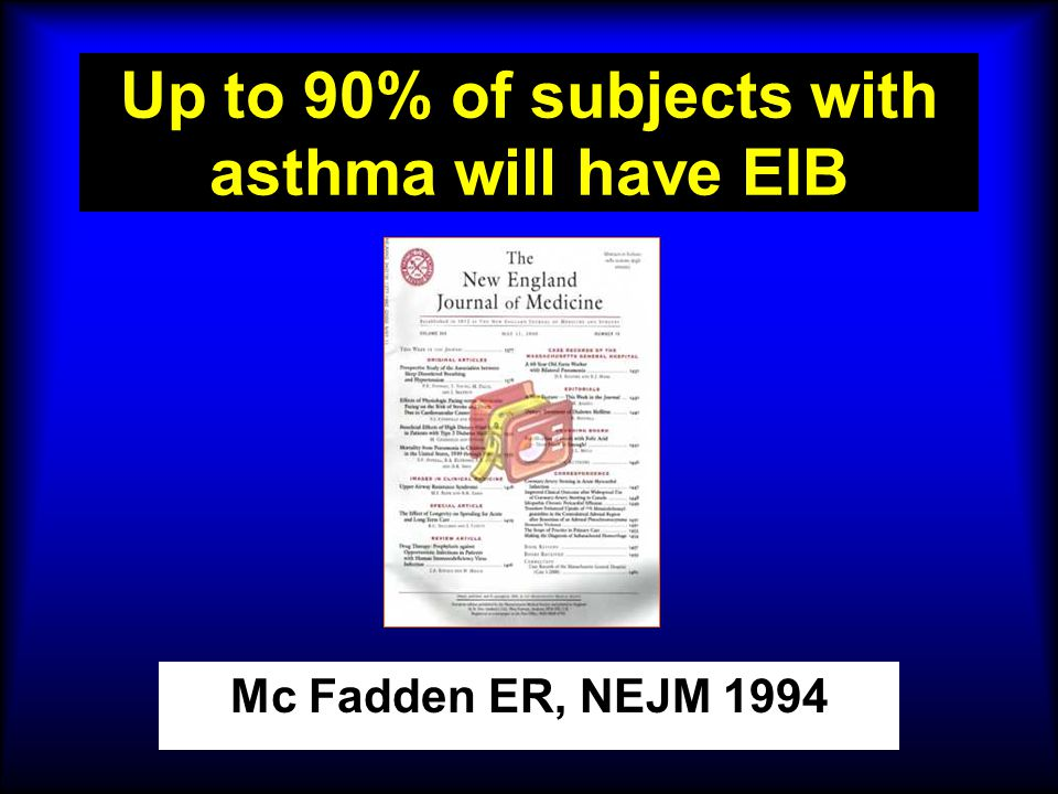 Up to 90% of subjects with asthma will have EIB