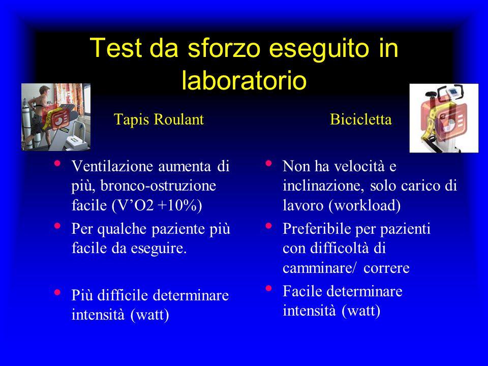 Test da sforzo eseguito in laboratorio