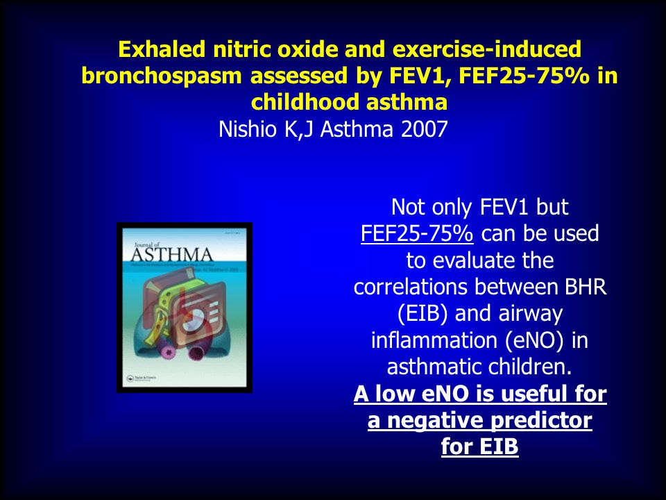 Exhaled nitric oxide and exercise-induced bronchospasm assessed by FEV1, FEF25-75% in childhood asthma