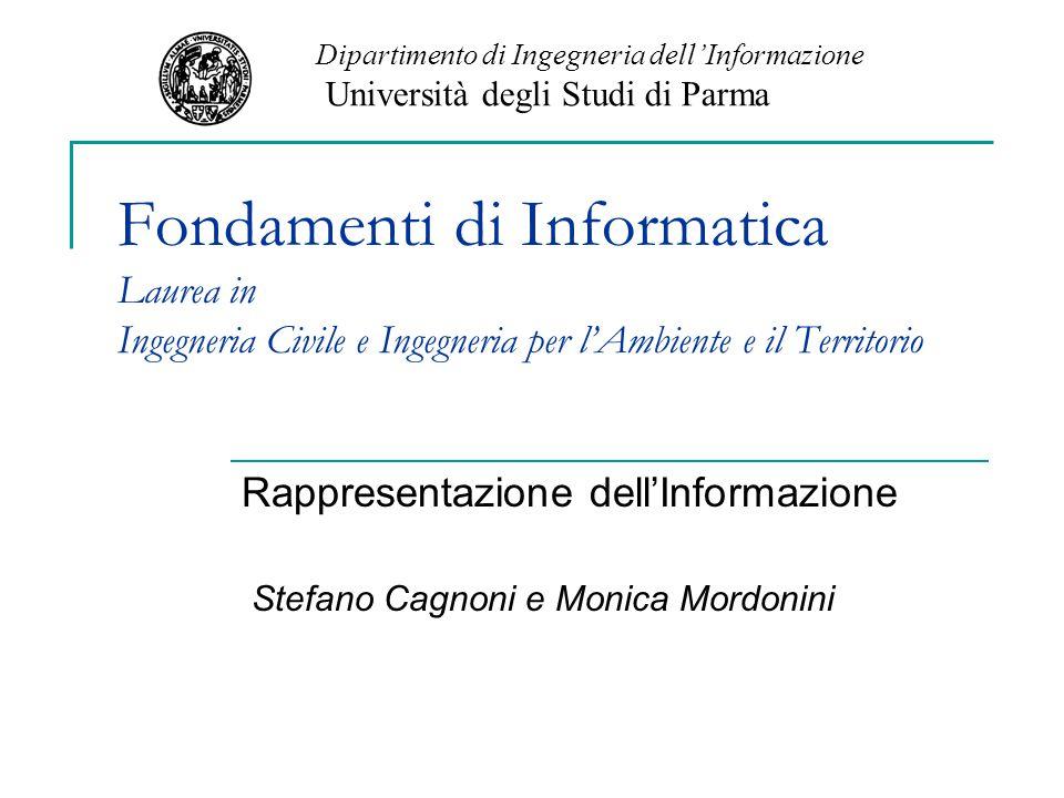 Rappresentazione dell'Informazione Stefano Cagnoni e Monica Mordonini