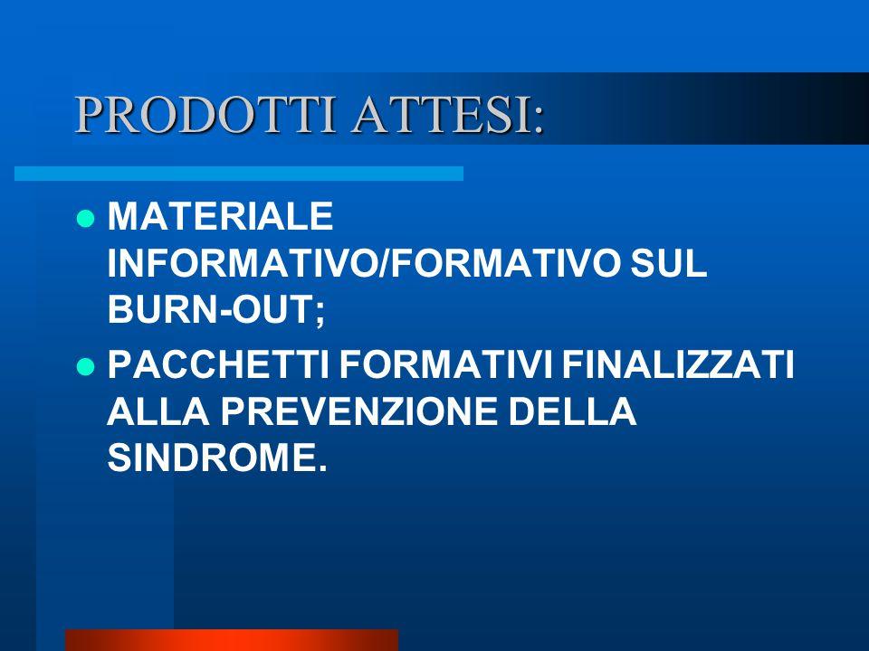PRODOTTI ATTESI: MATERIALE INFORMATIVO/FORMATIVO SUL BURN-OUT;