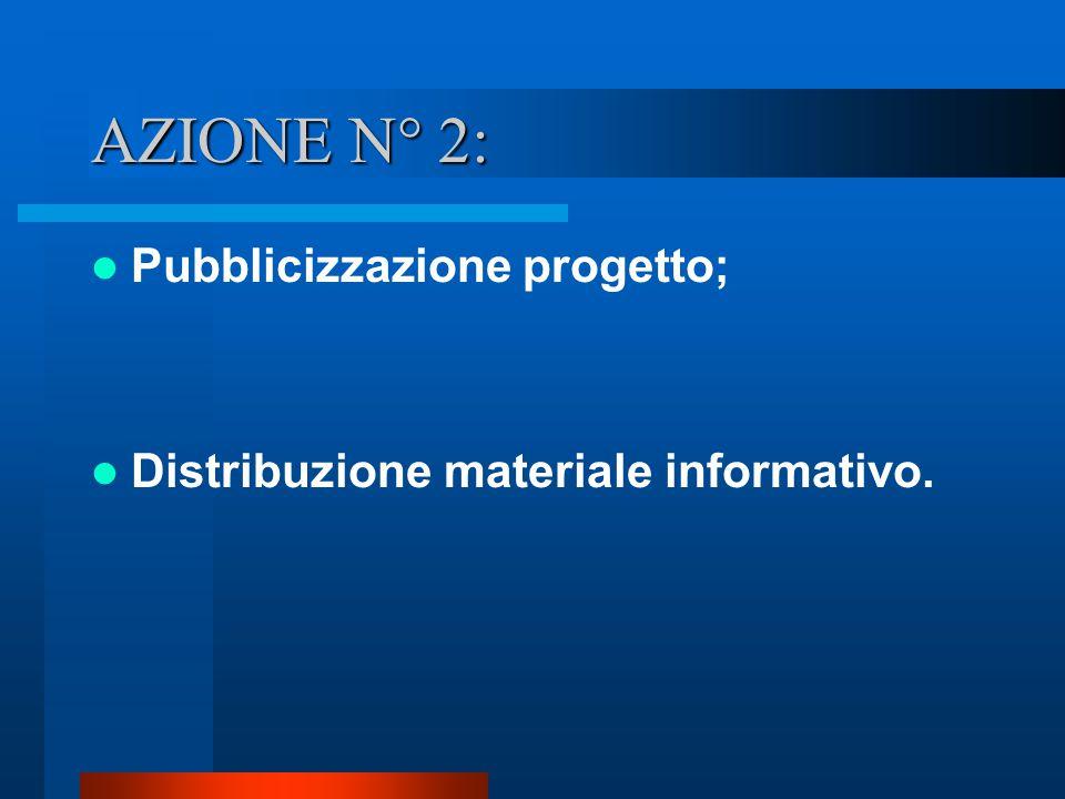AZIONE N° 2: Pubblicizzazione progetto;