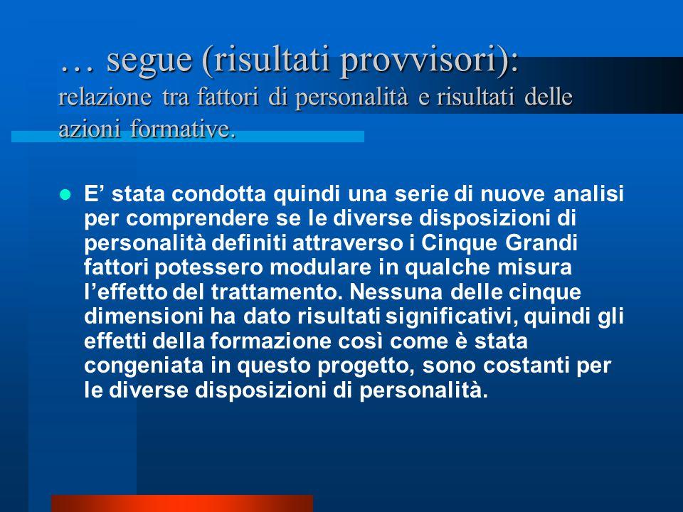 … segue (risultati provvisori): relazione tra fattori di personalità e risultati delle azioni formative.
