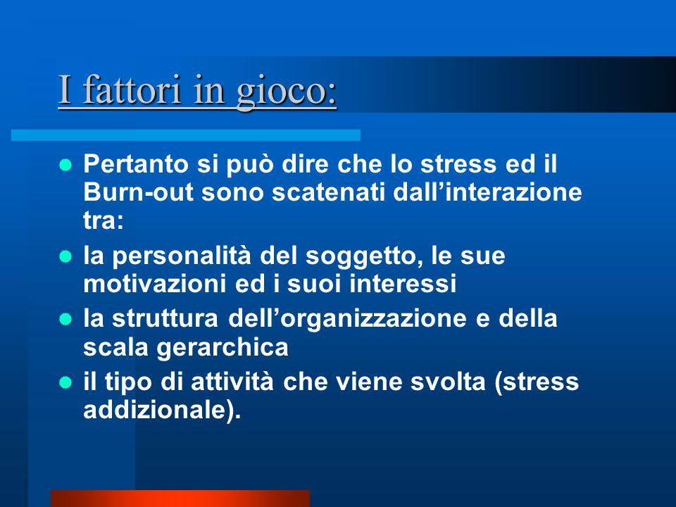 I fattori in gioco: Pertanto si può dire che lo stress ed il Burn-out sono scatenati dall'interazione tra: