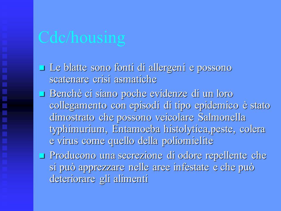 Cdc/housing Le blatte sono fonti di allergeni e possono scatenare crisi asmatiche.