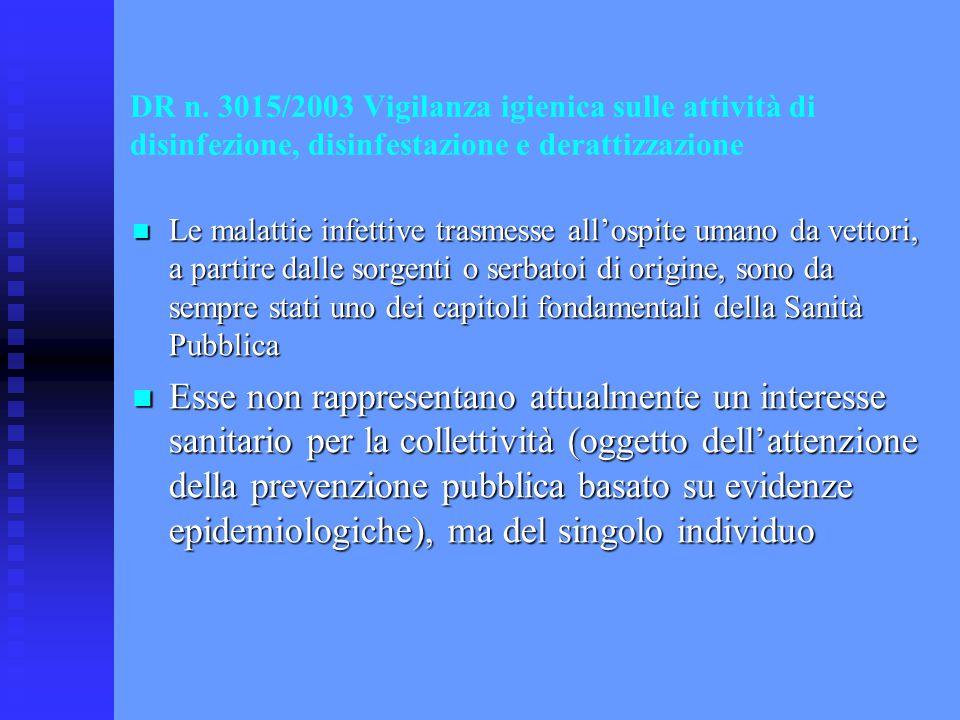 DR n. 3015/2003 Vigilanza igienica sulle attività di disinfezione, disinfestazione e derattizzazione