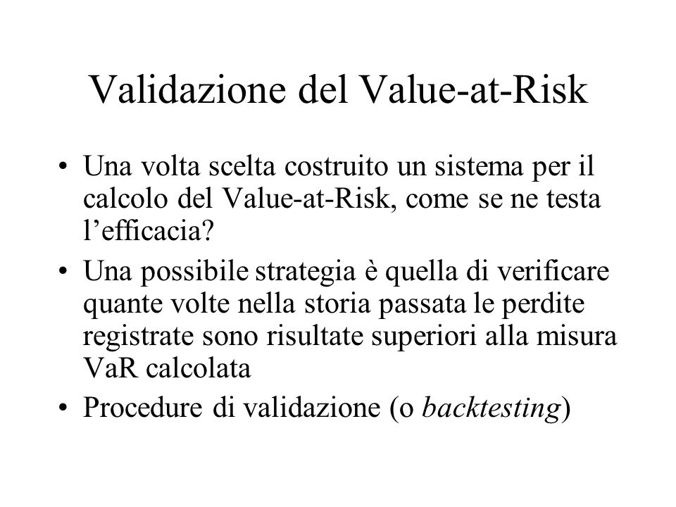 Validazione del Value-at-Risk