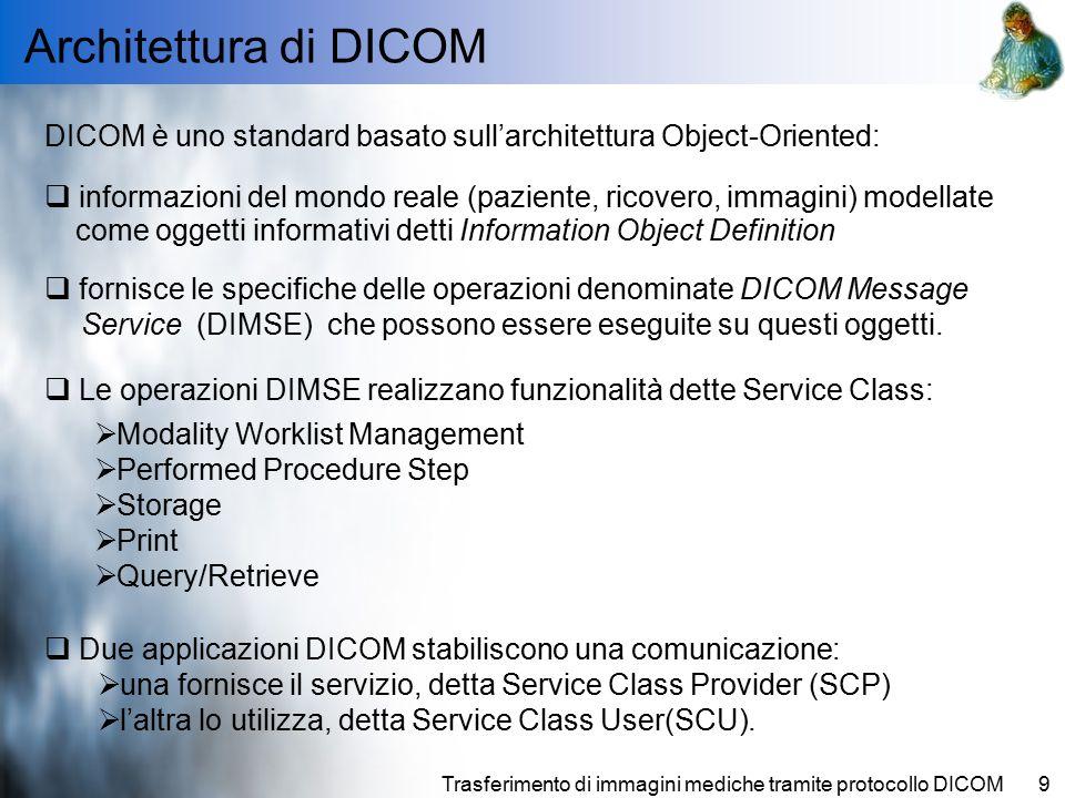 Architettura di DICOM DICOM è uno standard basato sull'architettura Object-Oriented: