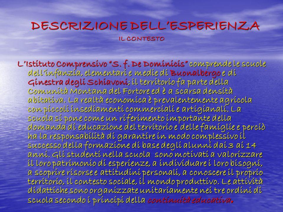 DESCRIZIONE DELL'ESPERIENZA IL CONTESTO