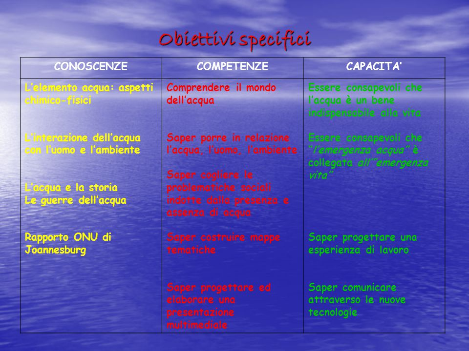 Obiettivi specifici CONOSCENZE COMPETENZE CAPACITA'