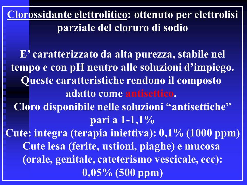Clorossidante elettrolitico: ottenuto per elettrolisi
