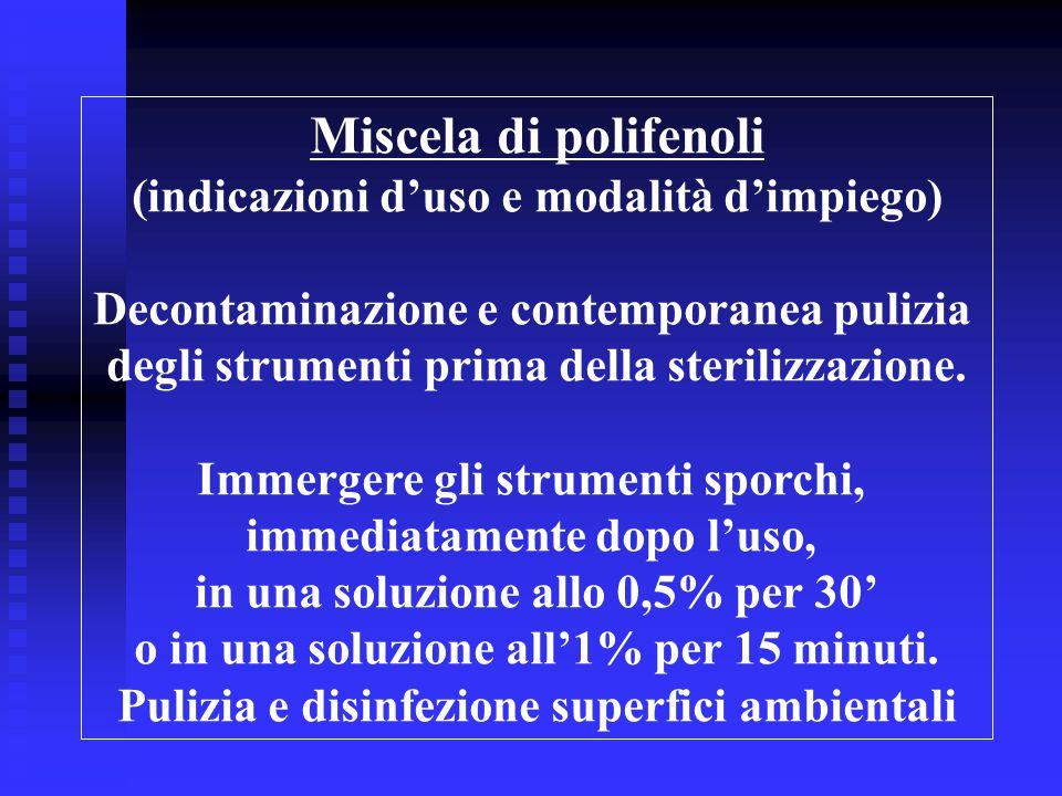Miscela di polifenoli (indicazioni d'uso e modalità d'impiego)
