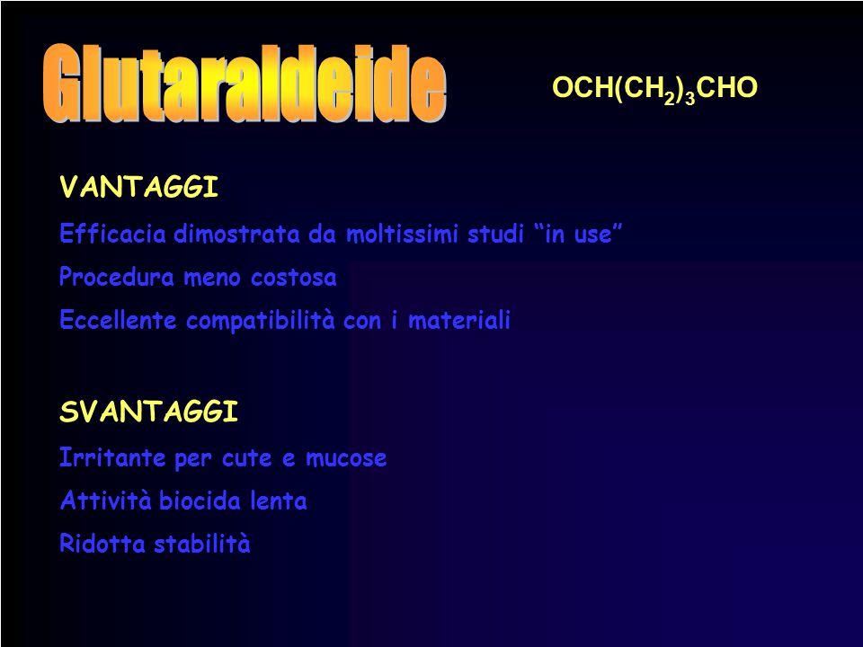 Glutaraldeide OCH(CH2)3CHO VANTAGGI SVANTAGGI
