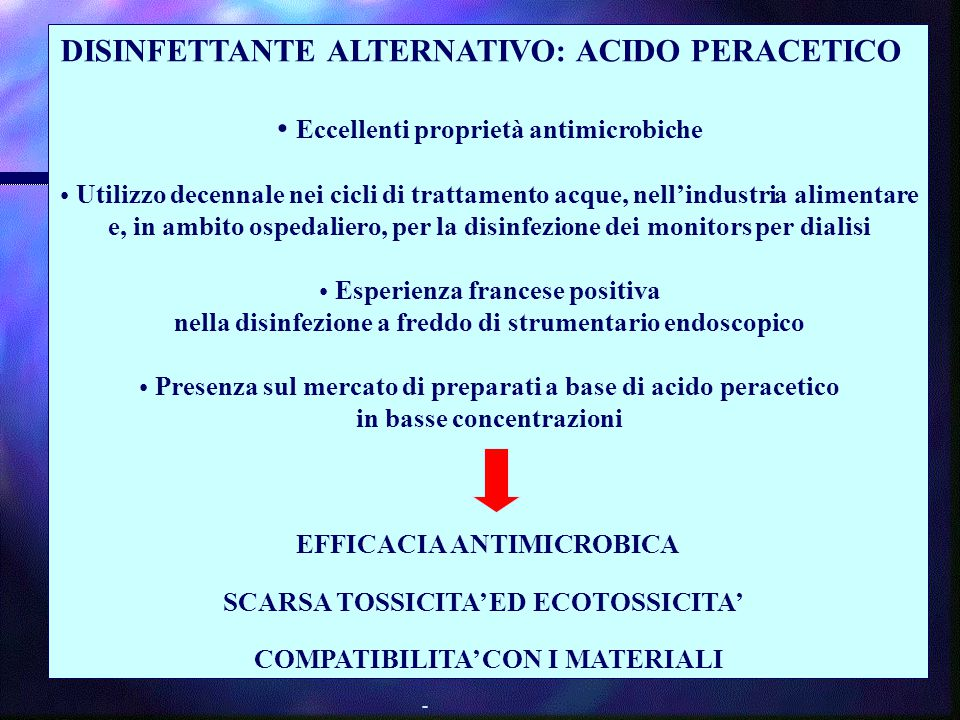 DISINFETTANTE ALTERNATIVO: ACIDO PERACETICO