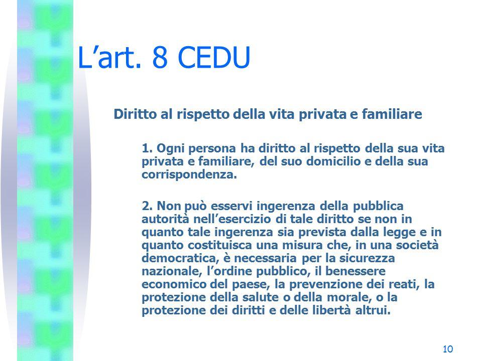 L'art. 8 CEDU Diritto al rispetto della vita privata e familiare