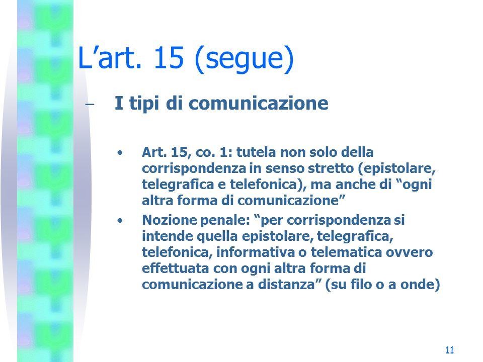 L'art. 15 (segue) I tipi di comunicazione