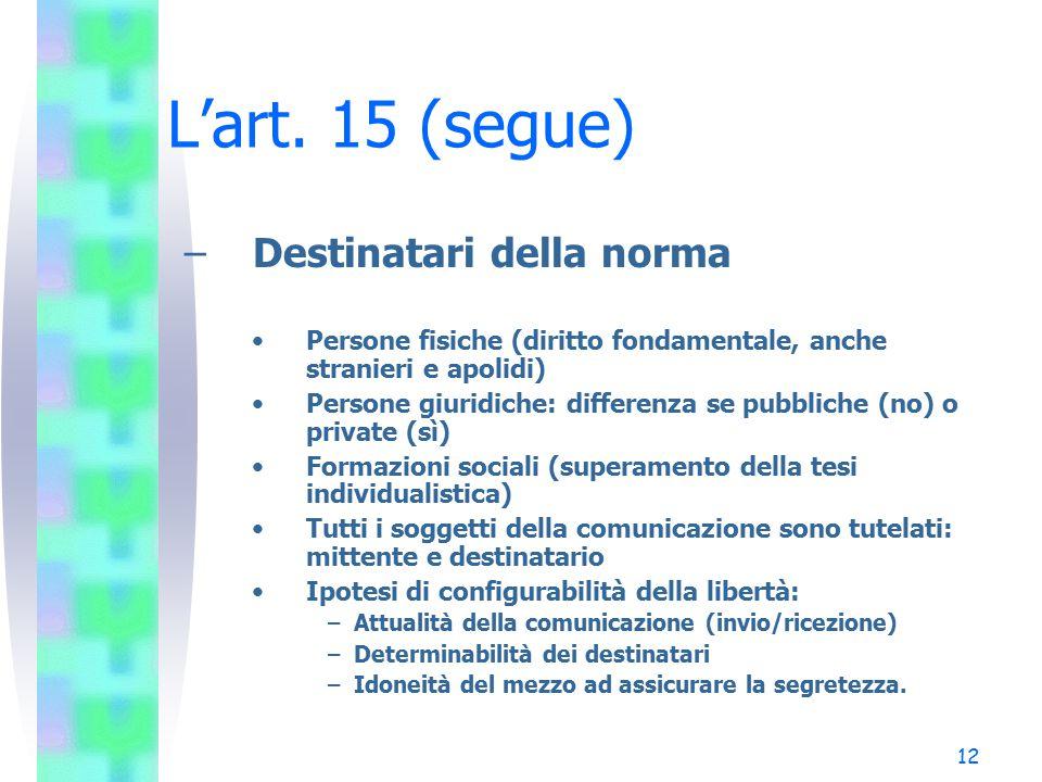 L'art. 15 (segue) Destinatari della norma