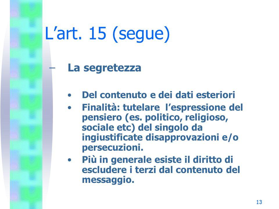 L'art. 15 (segue) La segretezza Del contenuto e dei dati esteriori
