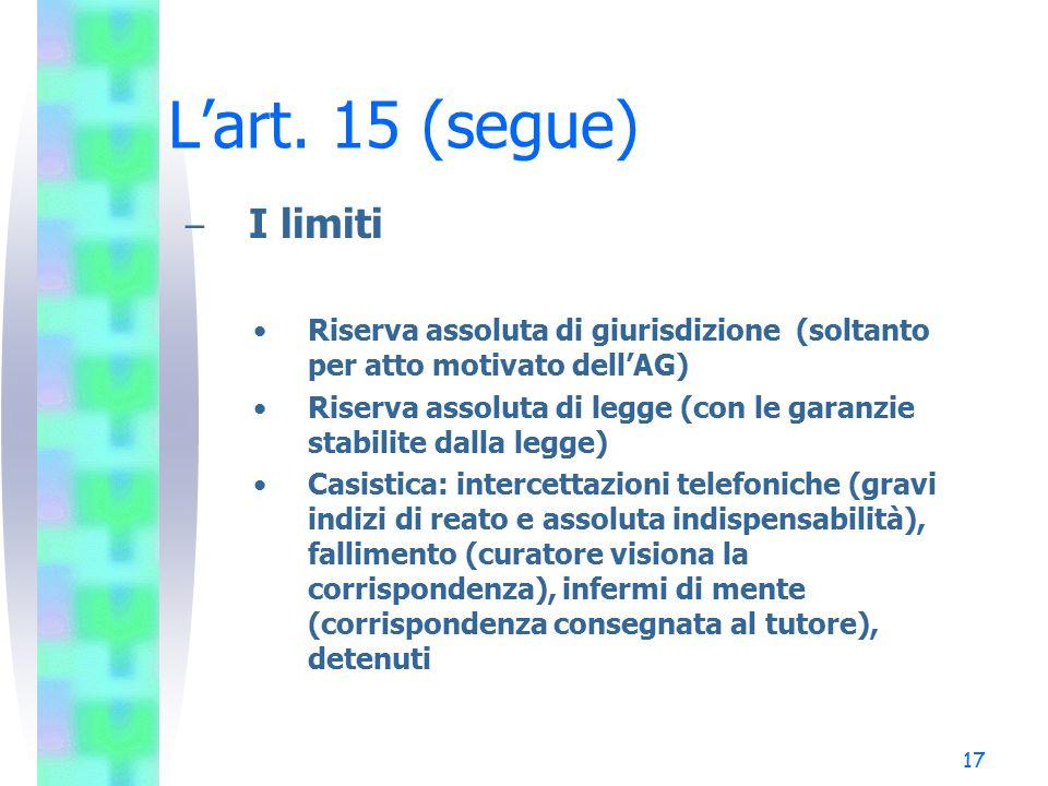L'art. 15 (segue) I limiti. Riserva assoluta di giurisdizione (soltanto per atto motivato dell'AG)