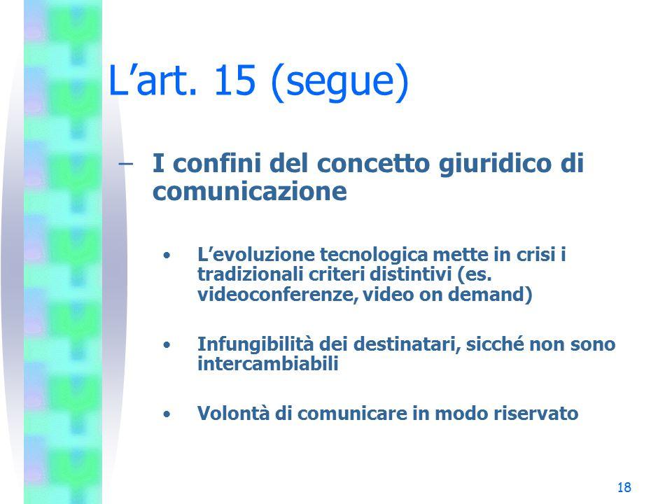 L'art. 15 (segue) I confini del concetto giuridico di comunicazione
