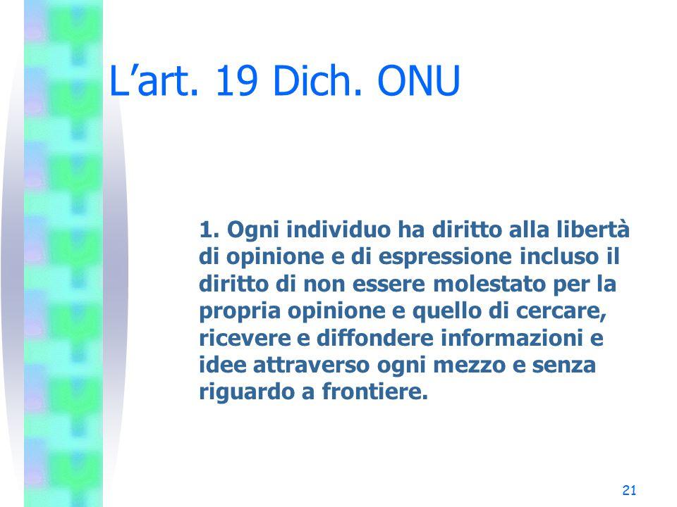 L'art. 19 Dich. ONU