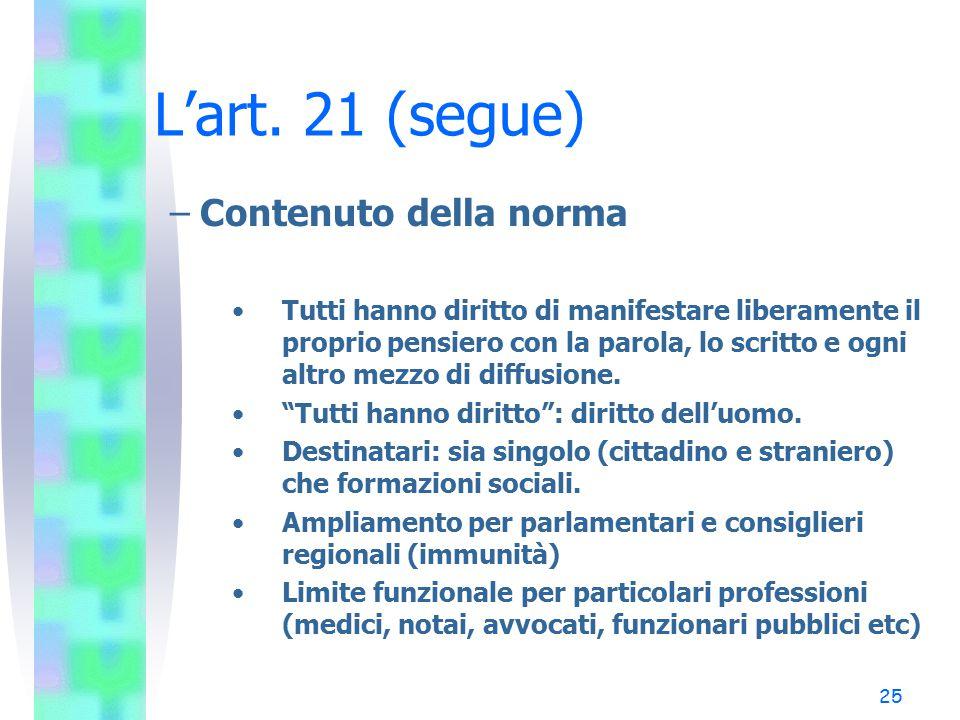 L'art. 21 (segue) Contenuto della norma