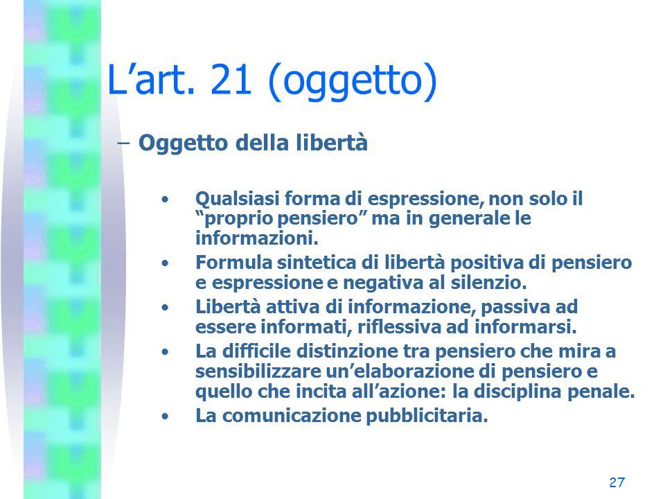 L'art. 21 (oggetto) Oggetto della libertà