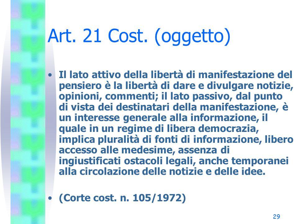 Art. 21 Cost. (oggetto)