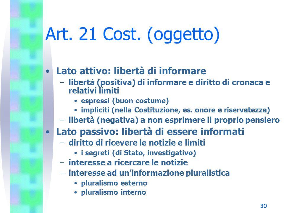 Art. 21 Cost. (oggetto) Lato attivo: libertà di informare
