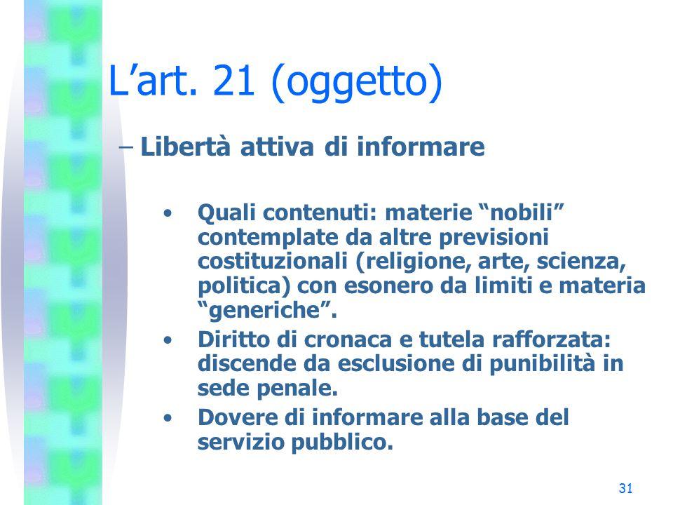 L'art. 21 (oggetto) Libertà attiva di informare