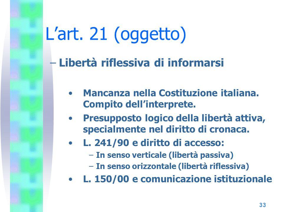 L'art. 21 (oggetto) Libertà riflessiva di informarsi
