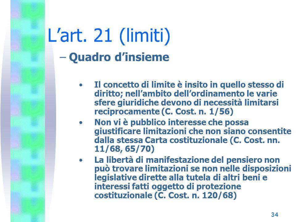 L'art. 21 (limiti) Quadro d'insieme