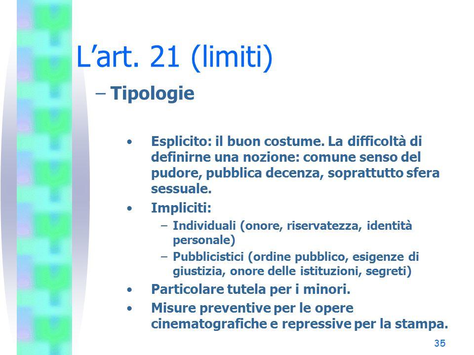 L'art. 21 (limiti) Tipologie