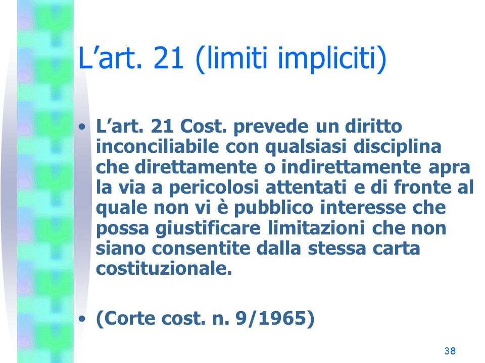 L'art. 21 (limiti impliciti)