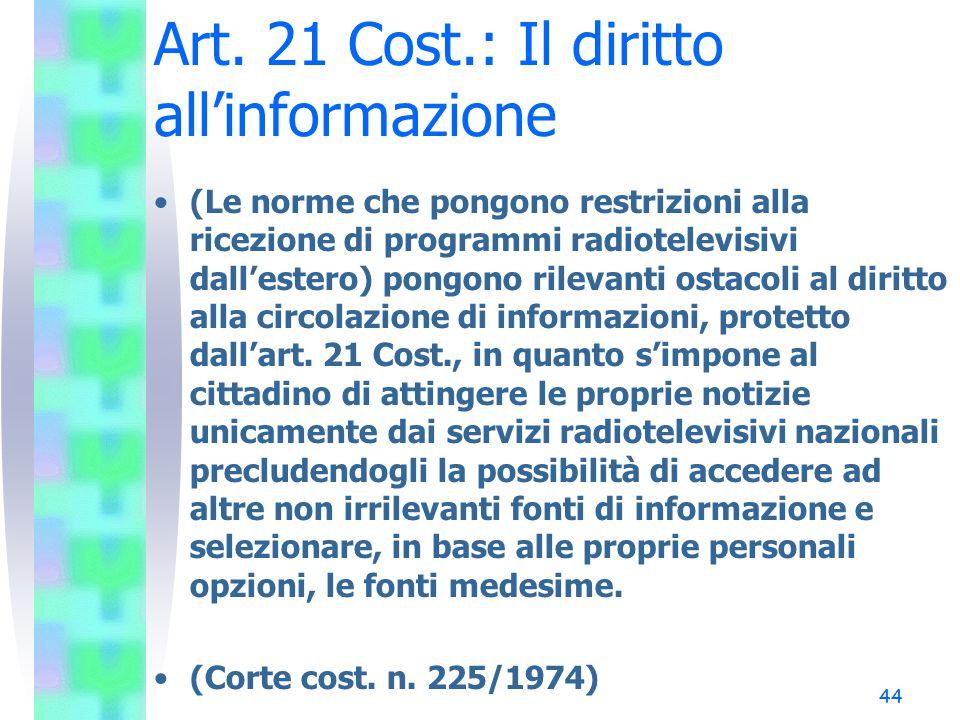 Art. 21 Cost.: Il diritto all'informazione
