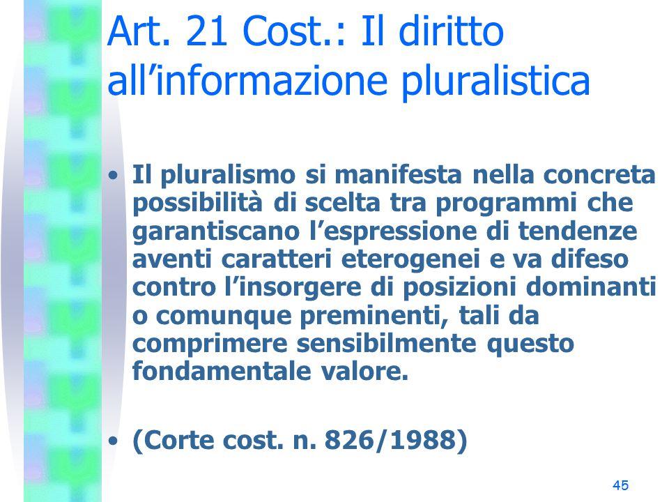 Art. 21 Cost.: Il diritto all'informazione pluralistica