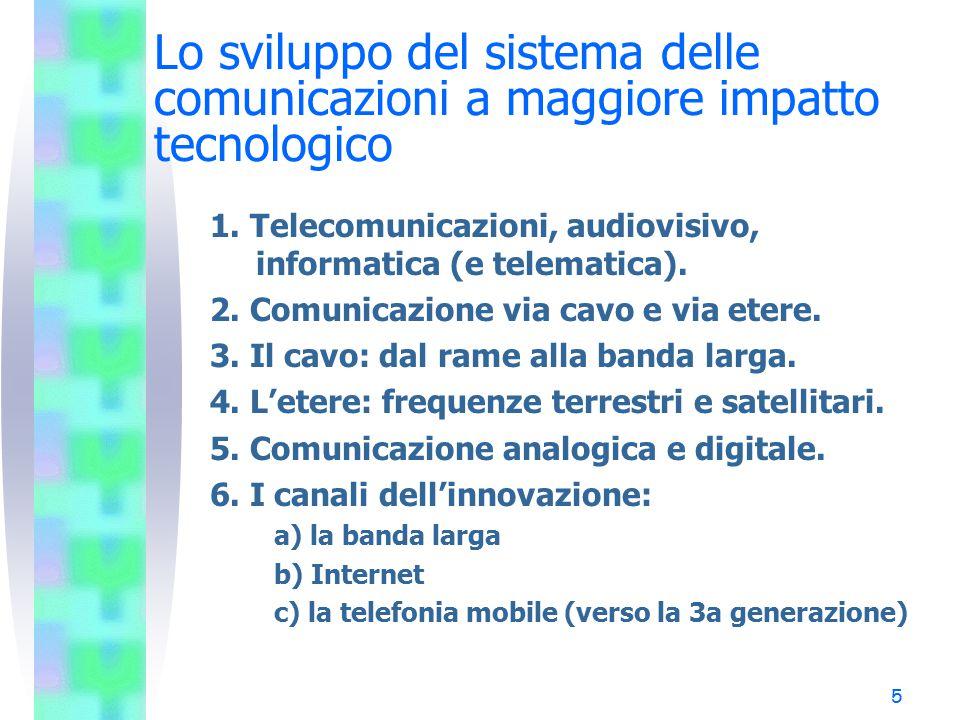 Lo sviluppo del sistema delle comunicazioni a maggiore impatto tecnologico