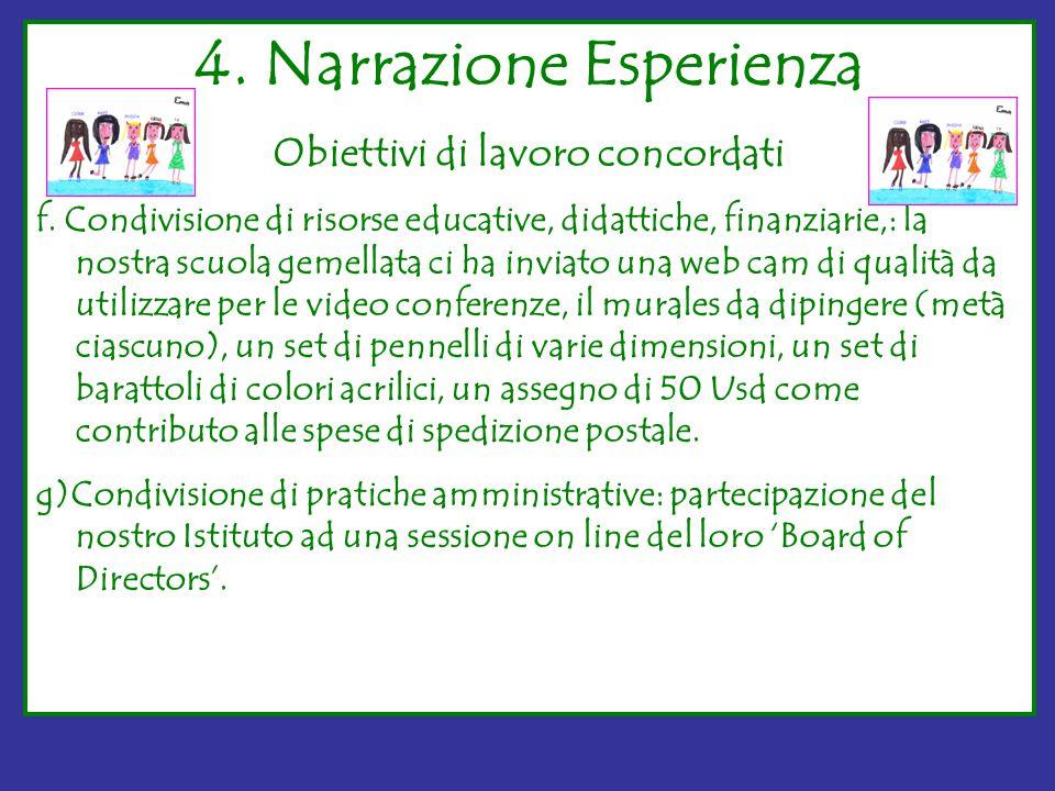 4. Narrazione Esperienza Obiettivi di lavoro concordati