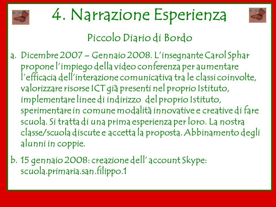 4. Narrazione Esperienza Piccolo Diario di Bordo
