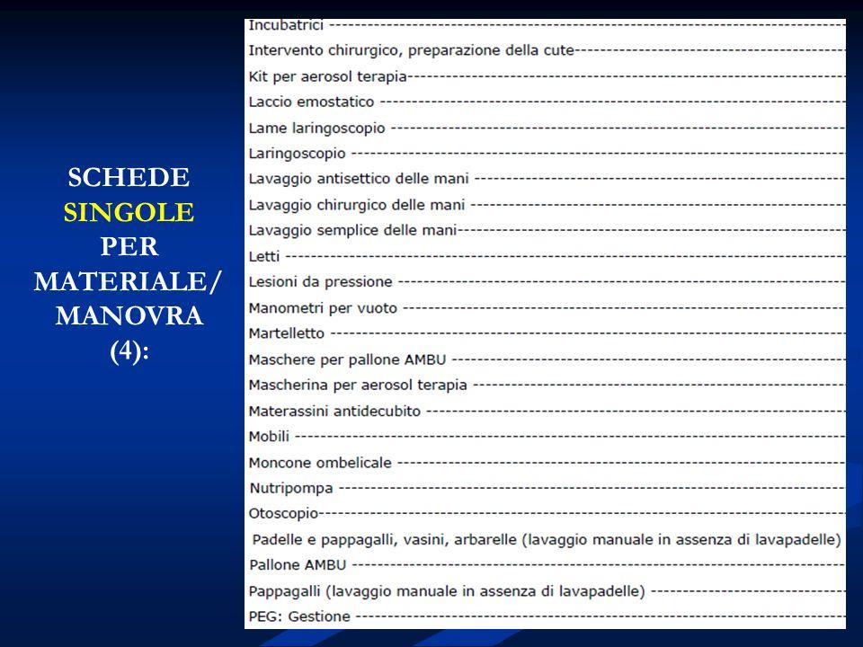 SCHEDE SINGOLE PER MATERIALE/MANOVRA (4):