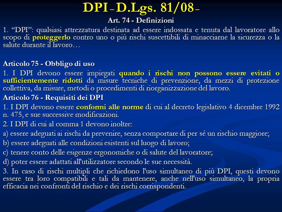 DPI – D.Lgs. 81/08 – Art. 74 - Definizioni