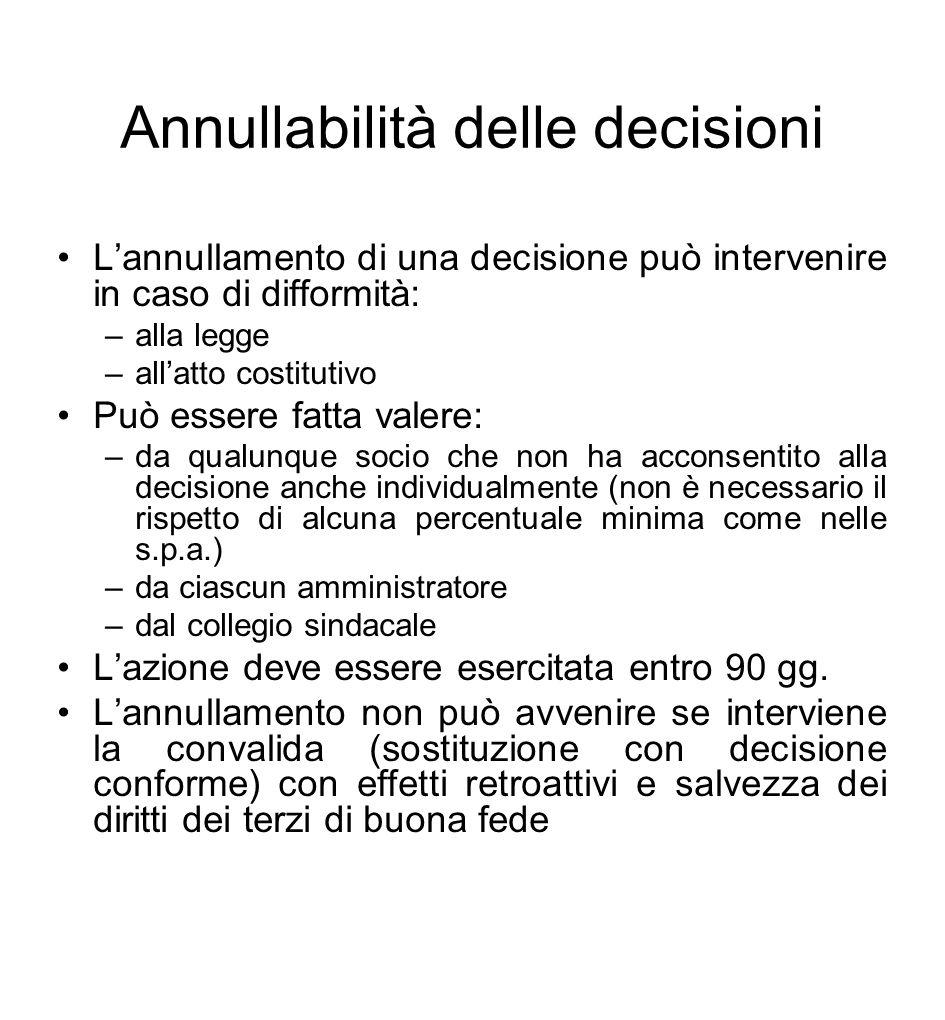 Annullabilità delle decisioni
