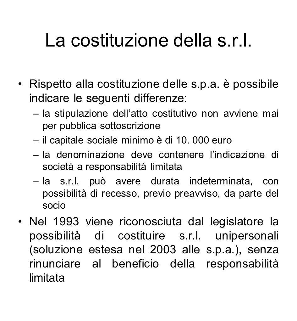 La costituzione della s.r.l.