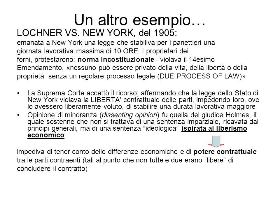 Un altro esempio… LOCHNER VS. NEW YORK, del 1905: