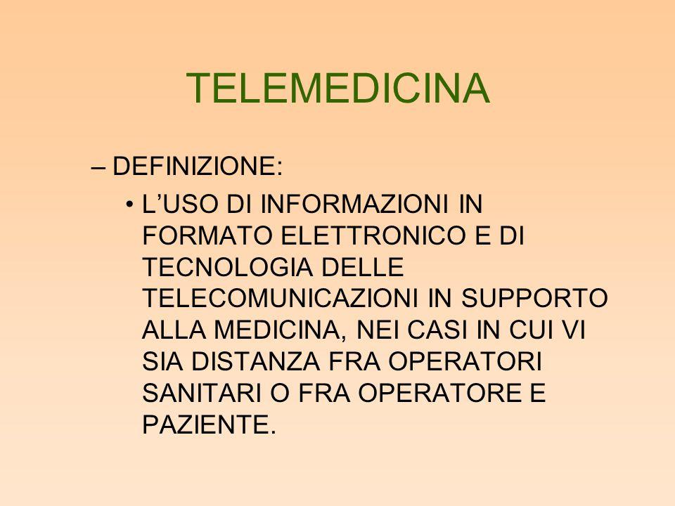 TELEMEDICINA DEFINIZIONE:
